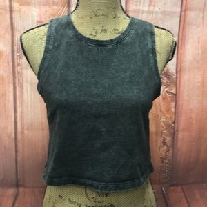 Black washed crop top size small